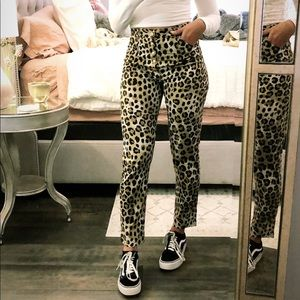 High waisted leopard pants with gold buttons